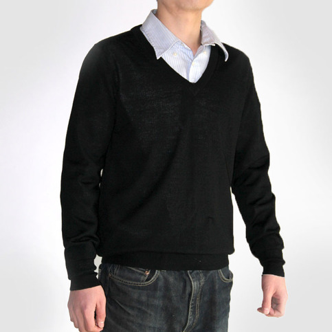 Men's V-neck Wool Blend Black Sweater