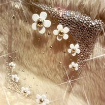 New White Diasy Flowers Rhinestones iPad 2/ New iPad Case