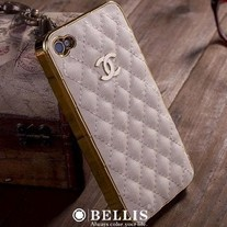 New Luxury Designer White PU Leather iPhone 4/4S Case Gold Color Plated Edges