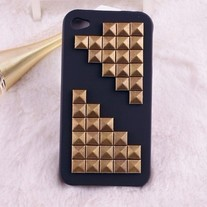 New Bling Crystal Sparkle Metallic Rivets iPhone 4/4S Case