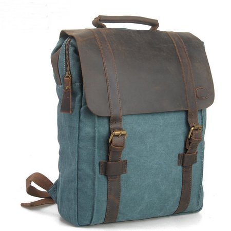 Leather straps canvas backpack for laptop · Vintage rugged canvas ...