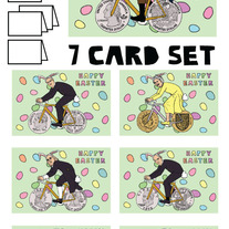 Coin wheeled bikes Easter 7 card set