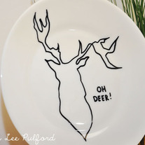 Hand Painted Vintage White Porcelain Plate, Deer Woodland Illustration, Oh My Antlers