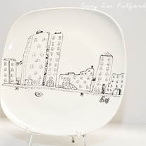 Hand Painted Porcelain Square Round Edge Plate, Wandering the City Illustration