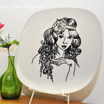 Hand Painted Porcelain Square Round Edge Plate, The Emporer's Daughter Fashion Illustration