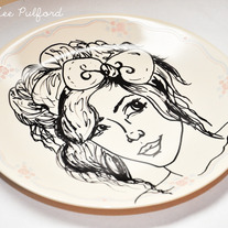 Hand Painted Vintage Plate, Fashion Illustration, Her Hair Bow