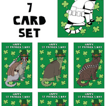 Cats dressed as Star Wars St patricks 7 card set