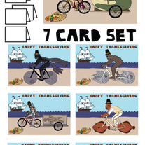 Star Wars on bike Thanksgiving 7 card set