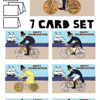 Coin wheeled bikes Thanksgiving 7 card set