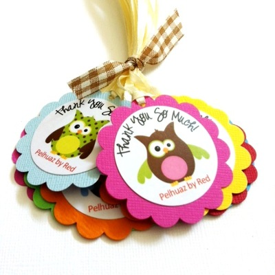 Owl Thank You Tags, Personalized