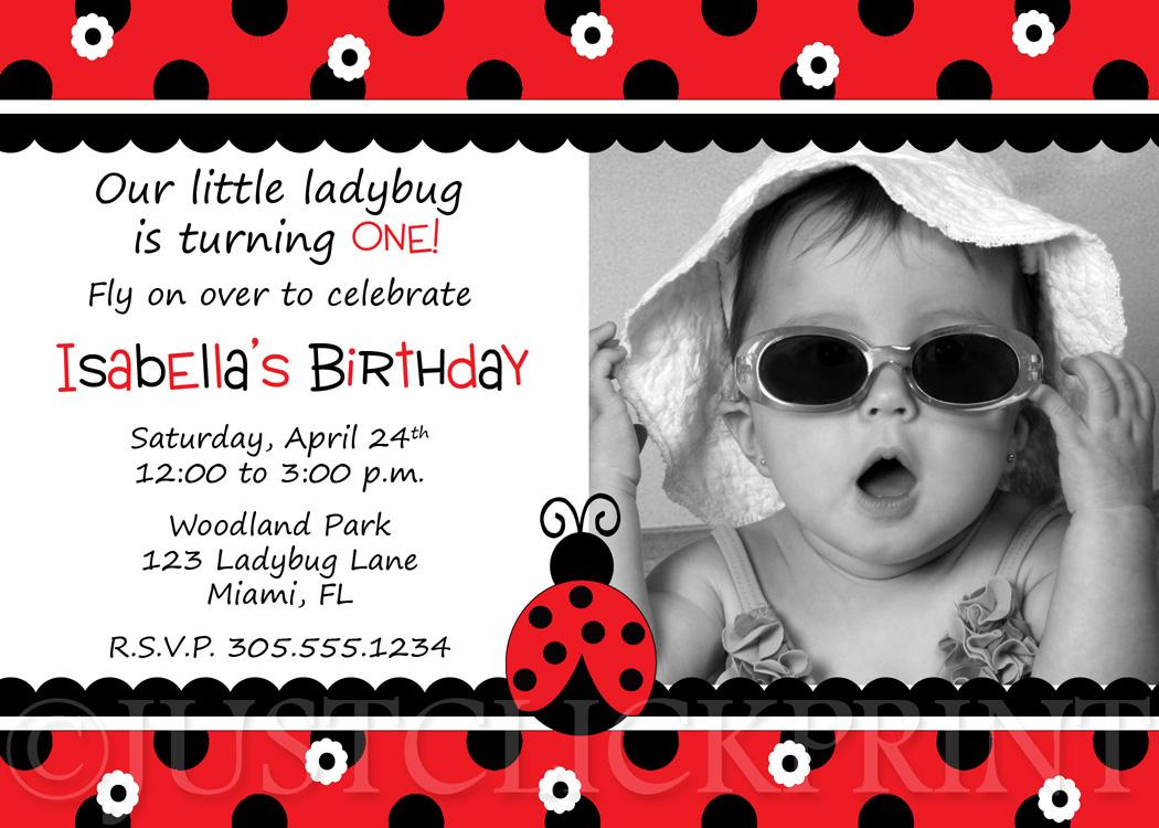 Red Little Ladybug Birthday Photo Invitation Printable · Just Click ...