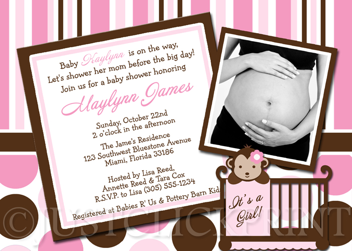 Pink Brown Modern Monkey Polka Dots Stripes Baby Shower Invitation