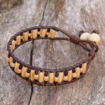 Wood and Bone Bead Brown Leather Bracelet