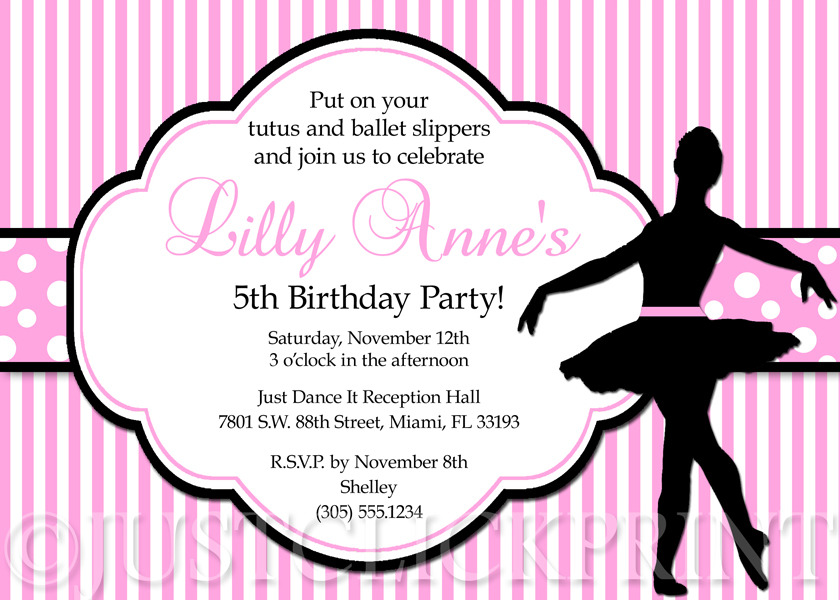 ballet pink and black ballerina dancer girl birthday party invitation just click print online store powered by storenvy - Girl Birthday Party Invitations