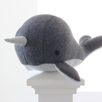 narwhal plush toy- Charlie- grey soft fleece whale narwal plushie
