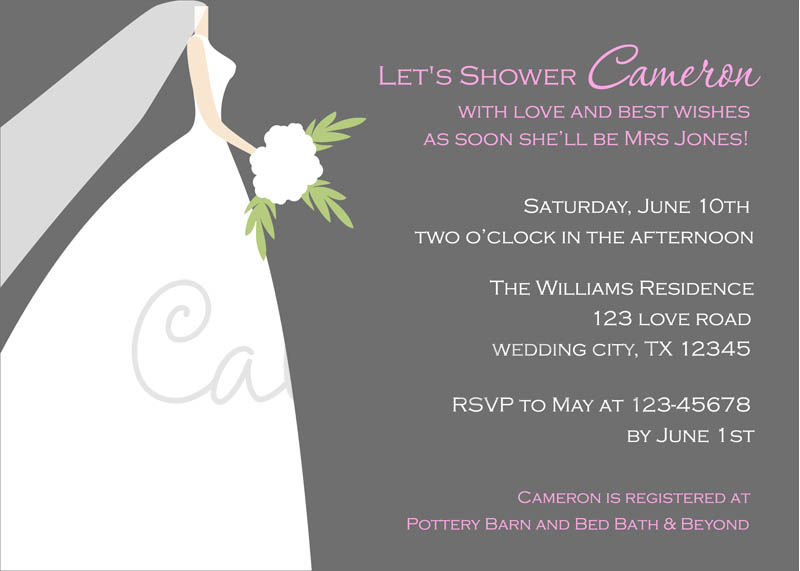 shower wedding dress silhouette bridal shower invitation printable ...