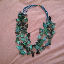 Three-Strand Jagged Piece Turquoise Necklace