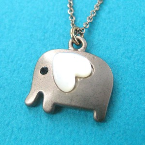 Small Elephant Animal Charm Necklace in Dark Silver with Heart - ALLERGY FREE