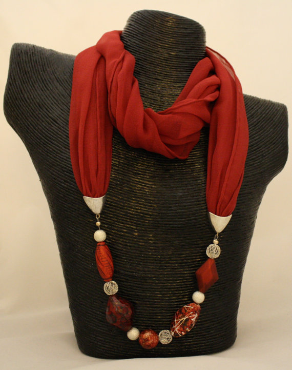 how to make a beaded net scarf necklace