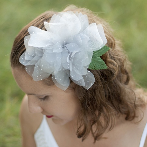 Platinum Dahlia Fascinator