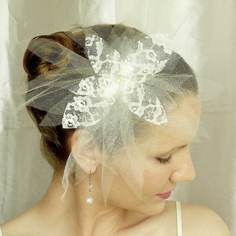 Ivory Tulle Bridal Veil Fascinator