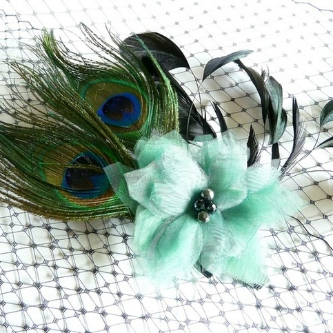 Peacock Bridal Fascinator with Green Organza Flower