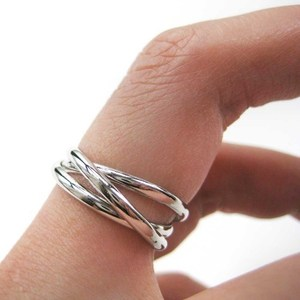 Three Connected Rings Linked into One Ring in Silver - Sizes 4 to 7 Available