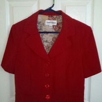 Danny & Nicole Red Short Sleeved Blazer Sz 12