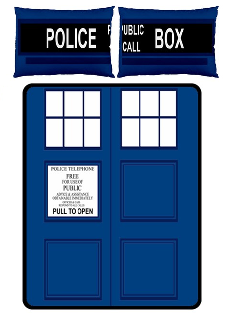 TARDIS Large Bed Set - Fleece Blanket 2 Pillow Cases