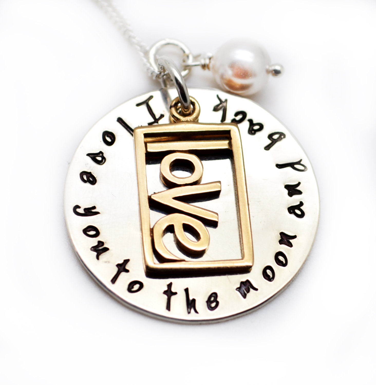 Love charm necklace i love you to the moon mommy for Engravable gifts for her
