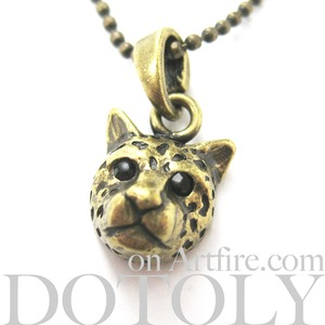ONE DOLLAR SALE - Leopard Cheetah Jaguar Cat Animal Charm Necklace in Bronze