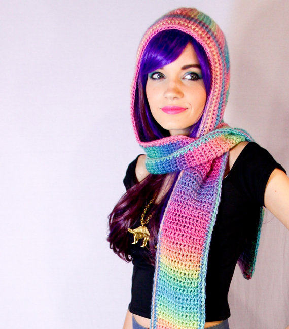 Rainbow Sherbet Scoofie Pastel Ombre Crocheted Hooded Scarf With