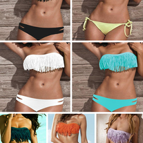 CUSTOM SIZES! Bandeau Fringe Bikini Set