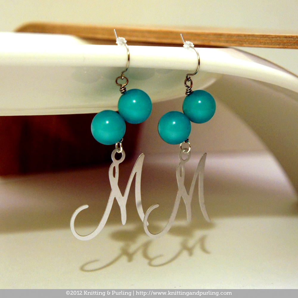 Cursive capital letter m turquoise side drilled round bead earrings