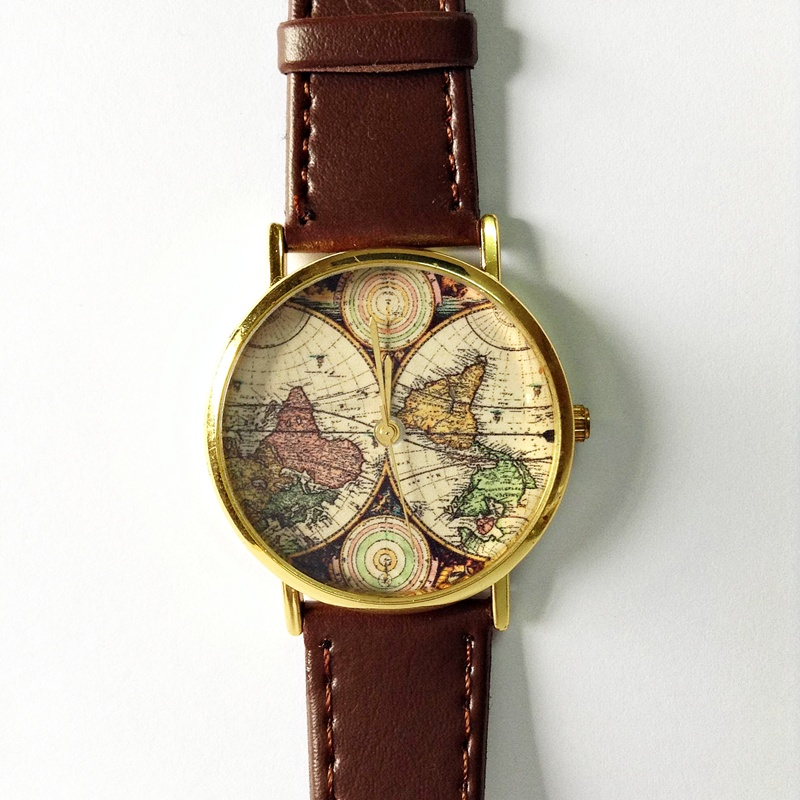 map watch vintage style leather watch women watches mens watch map watch vintage style leather watch women watches mens watch boyfriend watch