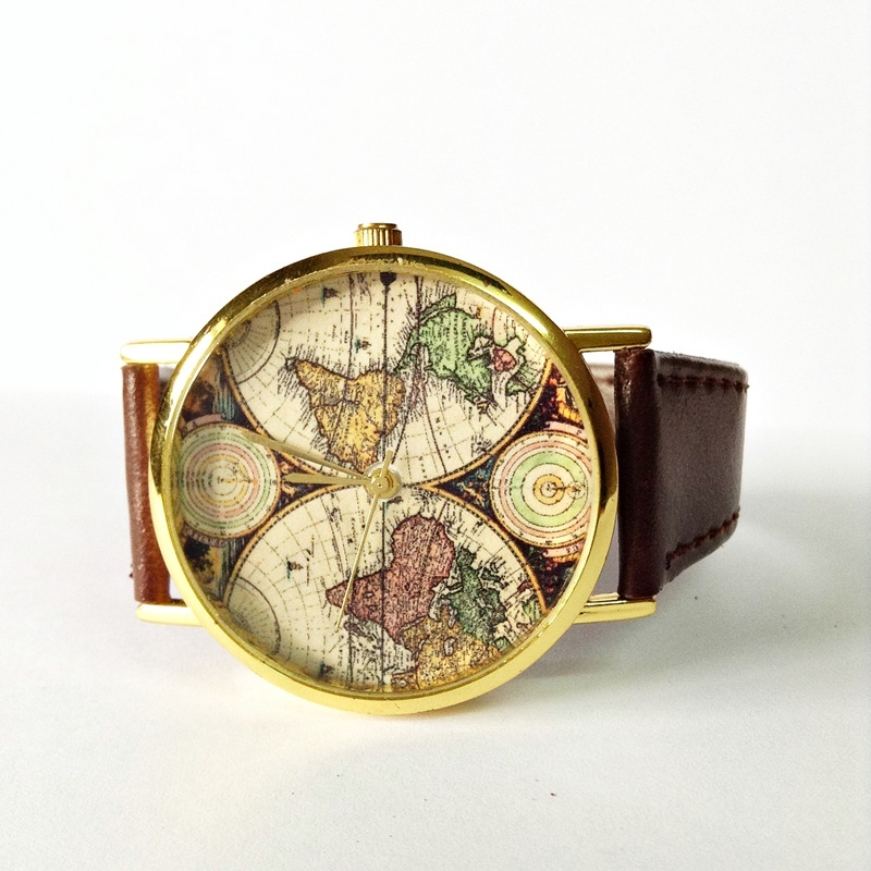 map watch vintage style leather watch women watches mens watch map watch vintage style leather watch women watches mens watch boyfriend watch world map brown · forme · online store powered by storenvy
