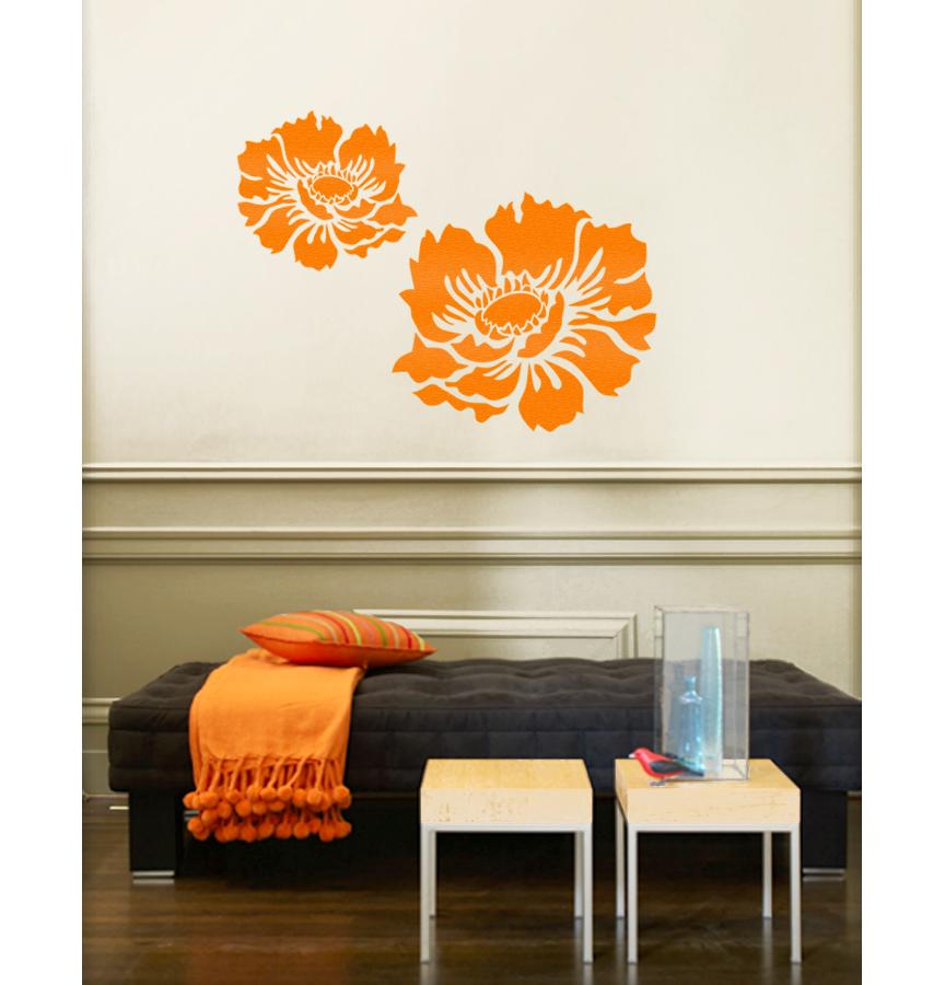 stencil boss | medium anemone flower garden designer wall stencil