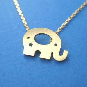 Elephant Baby Silhouette Shaped Pendant Necklace in Gold With Star Cut Outs