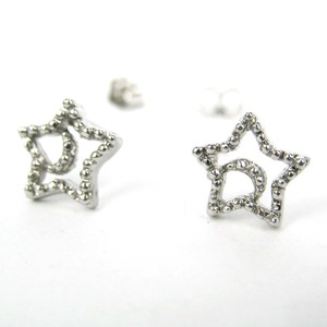 Small Stars and Moon Night Sky Textured Stud Earrings in Silver