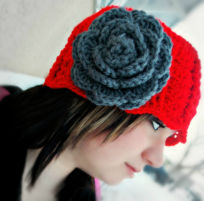 """Jennifer Rose"" Crocheted Cloche Hat in Red Hot"