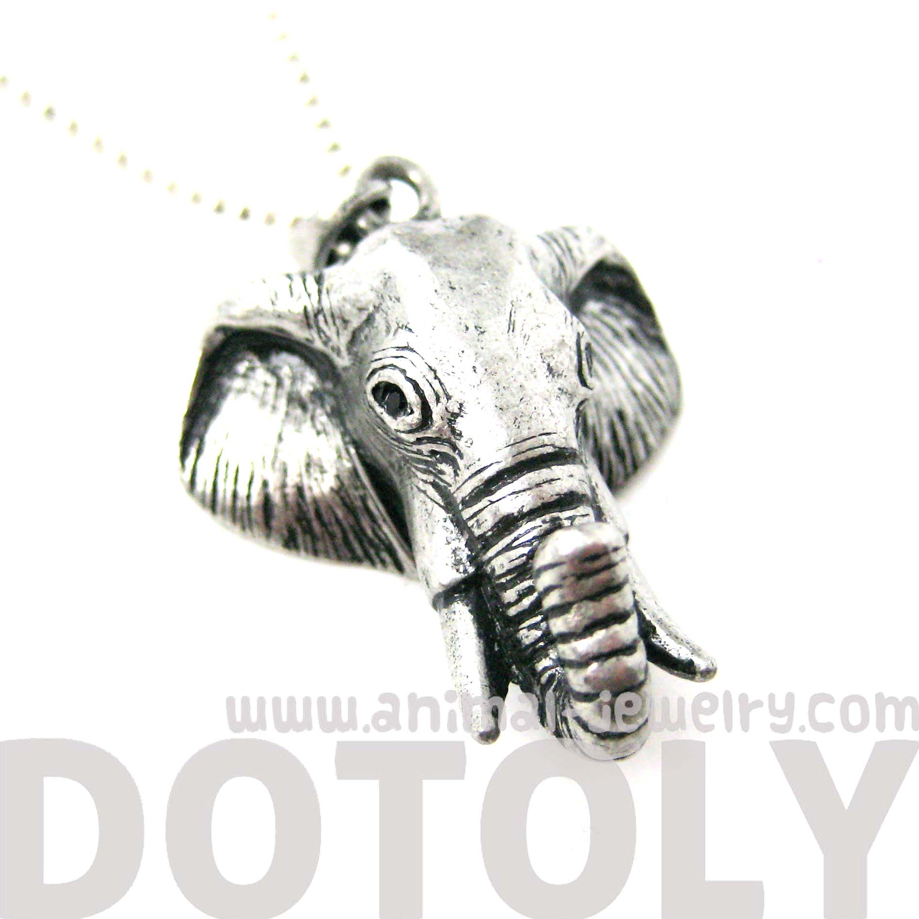 Detailed elephant head shaped animal pendant necklace in silver detailed elephant head shaped animal pendant necklace in silver thumbnail 2 aloadofball Image collections