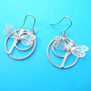 Dragonfly Rhinestone Dangle Hoop Earrings in Silver