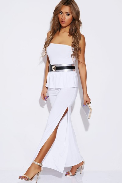 Peplum High Split Jumpsuit White 183 Sophisticates Closet
