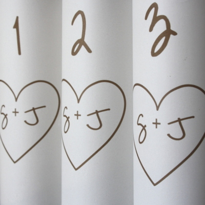 Heart initials table number luminaria