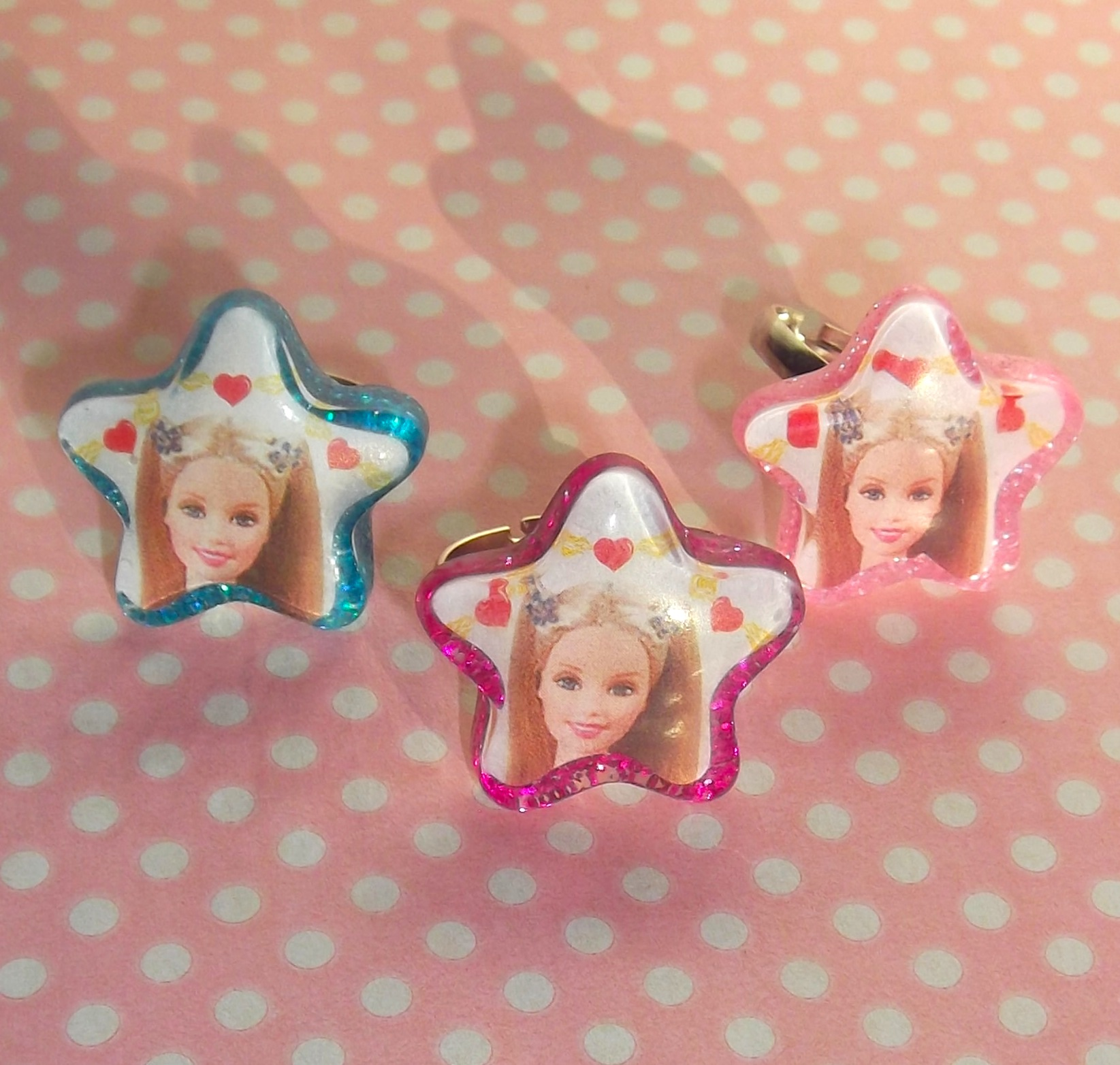 Barbie Nail Art Games Free Download: Kitsch 90s Barbie Glitter Star Rings In Hot Pink, Baby