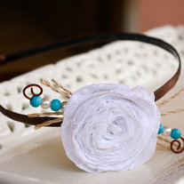 White Fabric Flower with Teal Wood Beads Rustic Headband