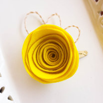 Yellow Felt Floral Hairclip with Abaca Twine
