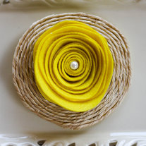 Round Yellow Felt Brooch with Abaca Twine