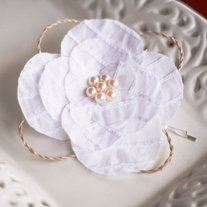 Rustic White Floral Hairclip with Abaca