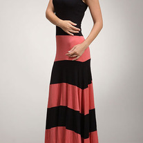Colorblock Black & Coral Biscot Jersey Long Tank Maxi Dress Striped SML
